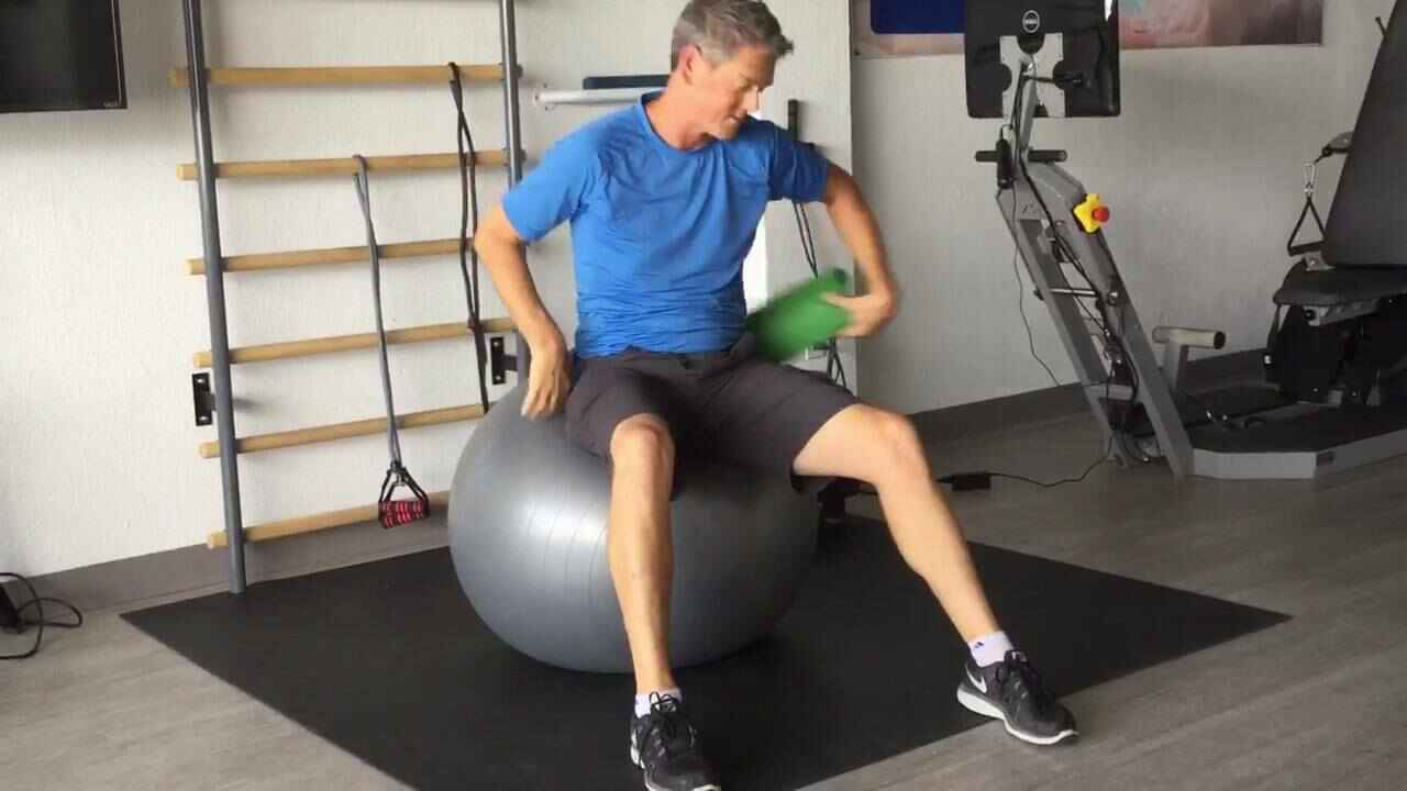 Good morning friends, try this easy position on a physioball (big, blow up ball) to help ease the tension in your spine....