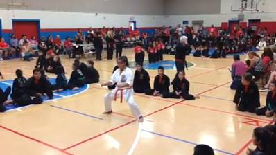 Our orange belt student, Kendra wins 1st place at 08/29/15 Chavez Dojo Tourney with her awesome Seiunchin kata!!