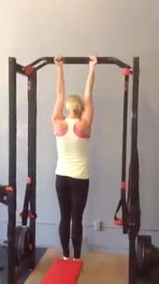 Look who showed up for the chin-up challenge.This was actually her second set of five!Great job Lacy!