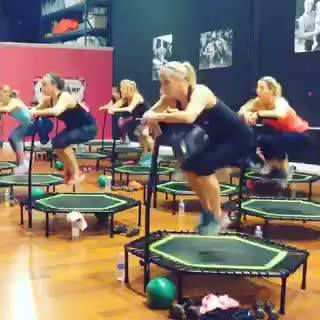 Jump Up, Jump Up & Get Down! Awesome cardio without all the impact on your knees! Come try it at Studio Pink Fit for FRE...