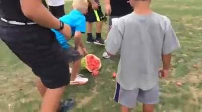Long drive demonstration at today's summer camp! Watermelon explosion